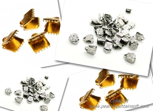 Ribbon/Cord Crimp Ends 5mm Pack of 2 -Platinum Silver or Gold