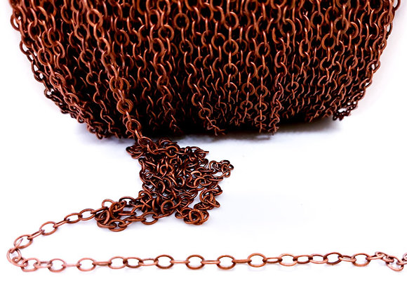 Brass chain, red copper