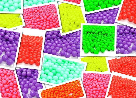 Neon Round Beads 8mm - Choice of Colours - Pack of 100