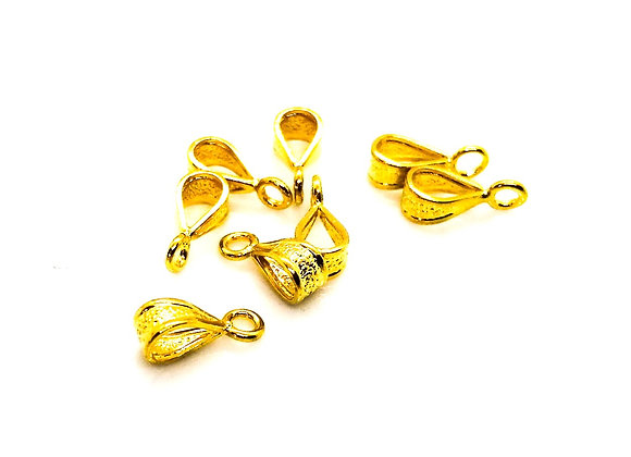 Small Textured Hanger Bead/Pendant Bail 5mm Hole - Gold