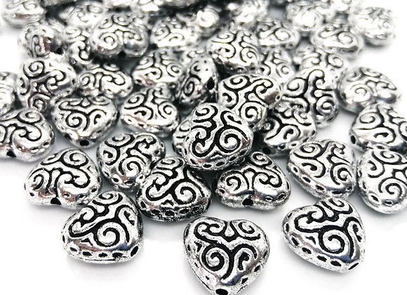 Antique Silver Heart Bead 14mm