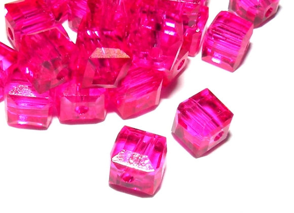 Glass Cube Bead 4mm - Fuschia Pack of 20