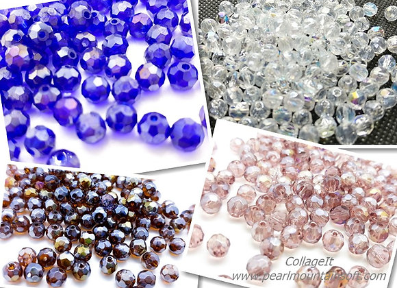 Glass Faceted Electroplate Round Bead 6mm - Choice of Colours