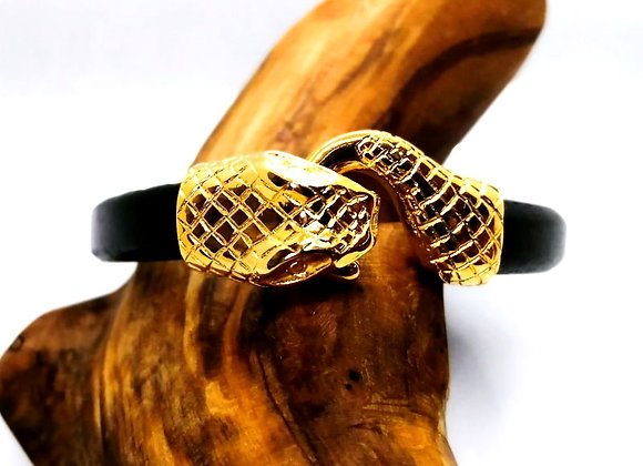 Zamak Metal Hook Clasp for Regaliz Leather Gold Snake