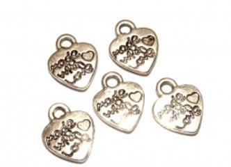 Metal Heart Charm 'Made with Love' Pack of 20