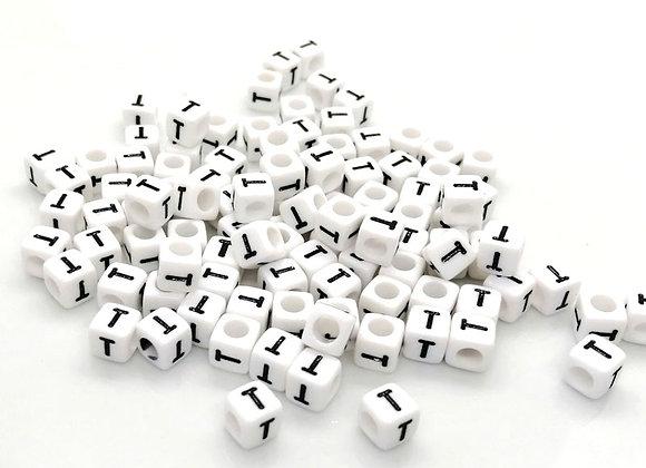 Acrylic Cube Letter T Pony Bead