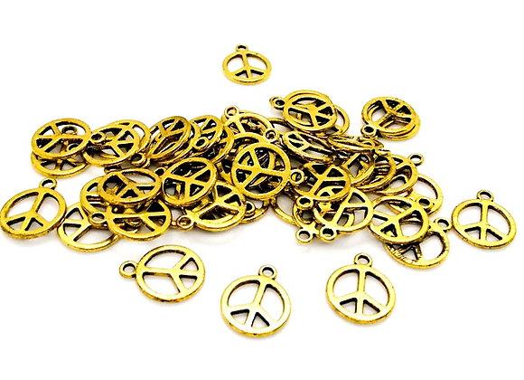 Tibetan Style Peace Charm - Antique Gold