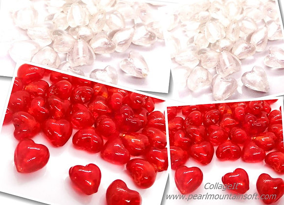 Glass Heart Bead 12mm - Red or Clear
