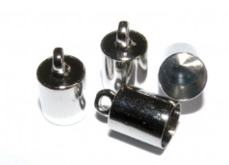 Medium Bright Silver Cord End 5.5mm Hole - Pack of 2