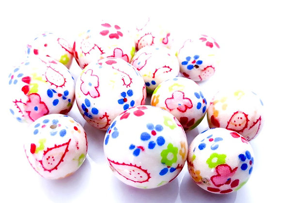 Resin Cloth Bead - Floral Print 22mm