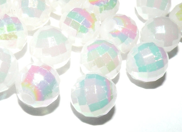 Disco Faceted Bead White AB 8mm Pack of 50