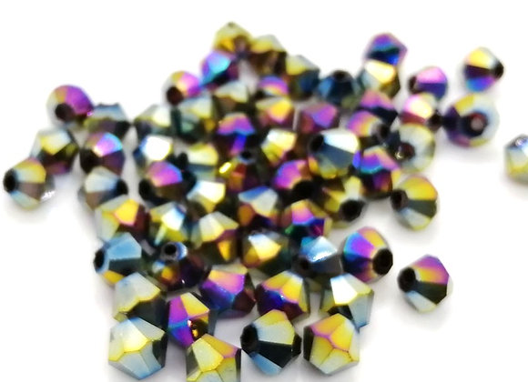 6mm Czech Crystal Bicone Bead Purple Rainbow  Pack of 25
