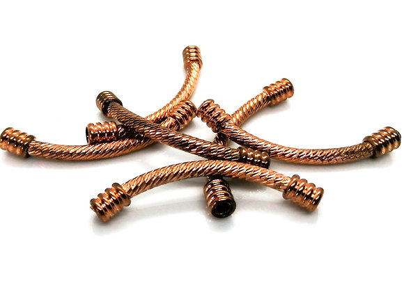 Metal  Curved Noodle Tube Bead 50mm - Rose Gold