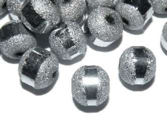 Frosted Glitzy Bead 8mm - Silver Plated