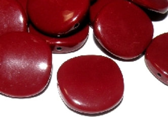 Large flat disc bead red