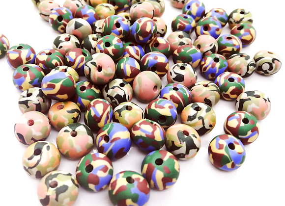 Camouflage Print Clay Bead
