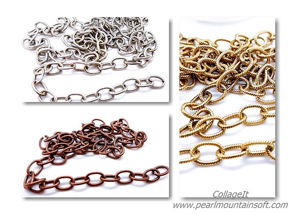 The Beadsmith Textured Cable Chain 10mm - Choice of Colours