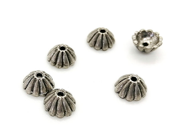 Antique Silver Bead Caps Pack of 12