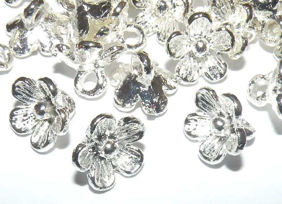 Flower Charm Pack - loop at back, bright silver