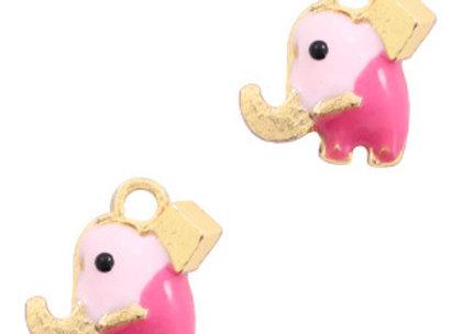 Pink Elephant Enamelled Charm