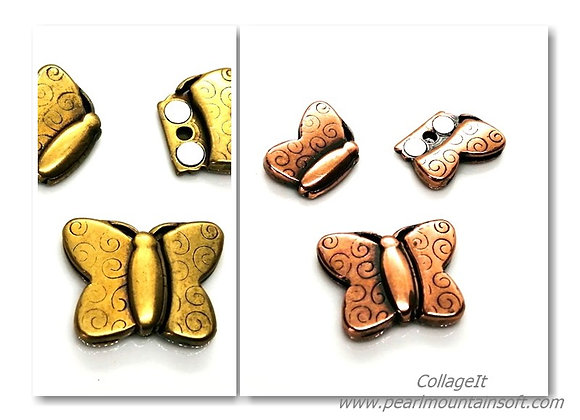 Large Magnetic Clasp Butterfly Old Gold or Rose Gold - 15mm Hole