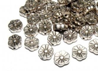 Tibetan Metal Flower Bead 8mm - Antique Silver - Pack of 10