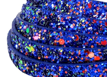 Flat Faux Leather with Glitters Cobalt Blue 10mm