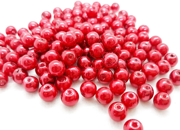 6mm Red Glass Pearl