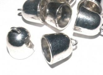 Large Silver Cord End 11mm Hole - Pack of 2