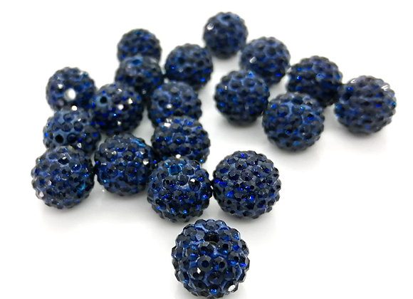 Polymer Clay Rhinestone Bead 10mm - Dark Blue