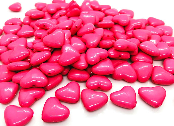 Bright pink acrylic heart bead jewellery making beads uk