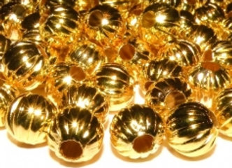 Metal Corrugated Bead 8mm - Gold