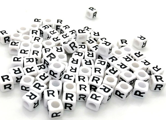 Acrylic Cube Letter R Pony Bead