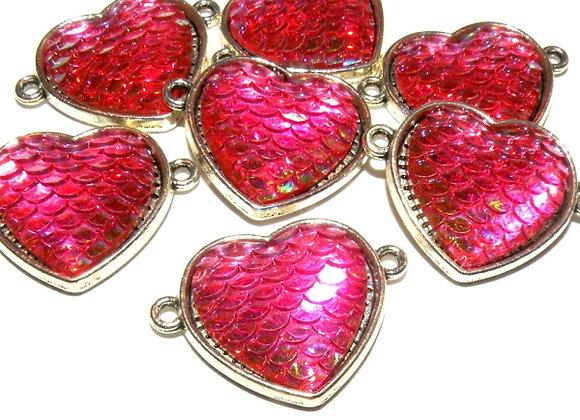 Resin Glitter Mermaid  Heart Link Fuschia