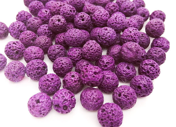 Imitation lava bead purple round jewellery making beads uk