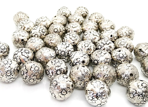 CCB Flower Print Round Bead 13mm or 18mm - Antique Silver