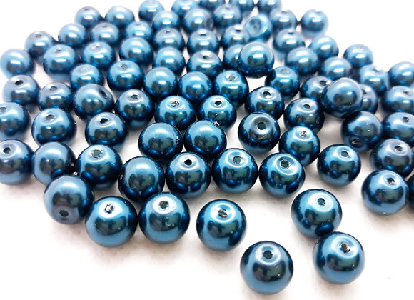 Glass Pearl Beads 8mm Blue - Pack of 50