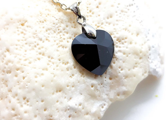 Glass Crystal Heart Pendant Black - 925 Silver Bail