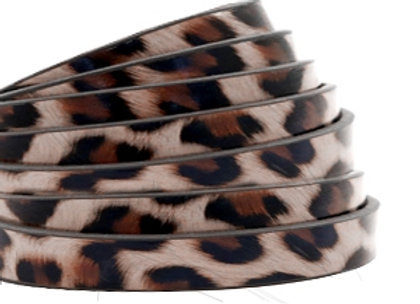 Flat Faux Leather 5mm - Leopard Print Taupe