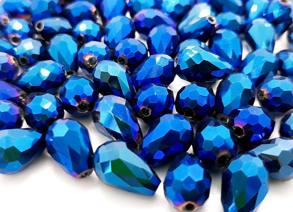 Electroplate Faceted Glass Teardrop Bead - Blue 12mm Pack of 10