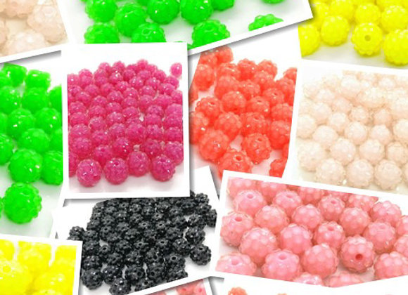 Resin Disco Ball Shamballa Bead 10mm - Choice of Colours