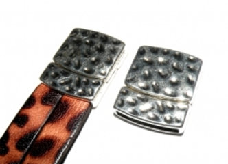Hammered Magnetic Clasp - 20x2.5mm Hole