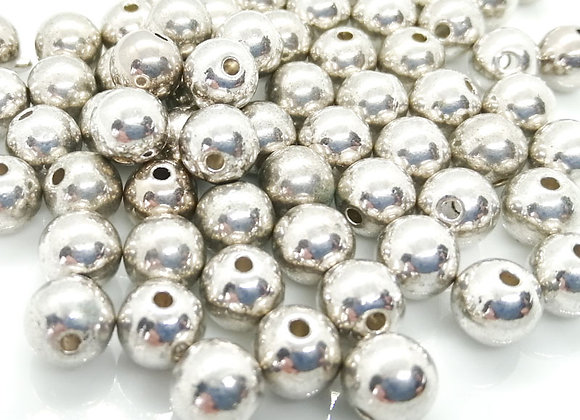 Heavy Metal Round Bead 8mm - Antique Silver