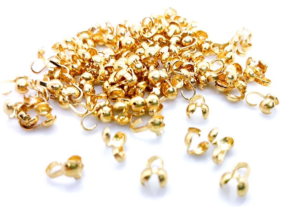 Gold Plate Side Clamp Bead Tips Pack of 50