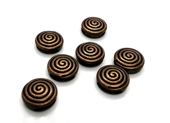 Tibetan Style Metal Round Spiral Slider Bead Antique Copper