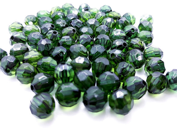 Transparent Faceted Round Beads 8mm - Green or Red - Pack of 10
