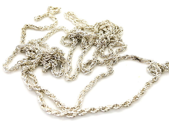Fine Rope Chain Silver 3mm - 1m Length