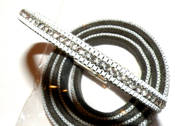 Faux Suede with Strass Crystals 6mm - Grey
