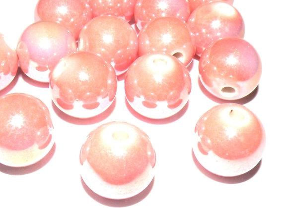 Porcelain Bead - AB Colour Plated Misty Rose