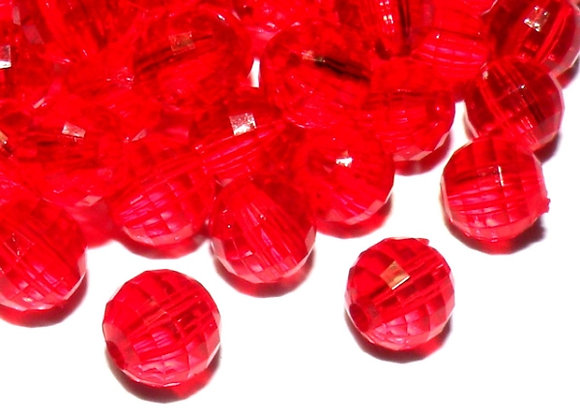 8mm Transparent Faceted Bead - Red Pack of 50